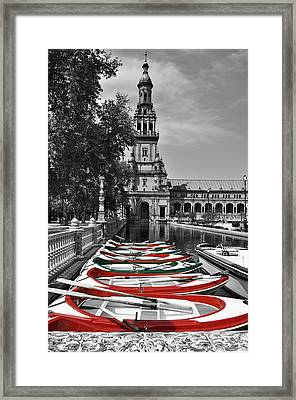 Boats By The Plaza De Espana Seville Framed Print by Mary Machare