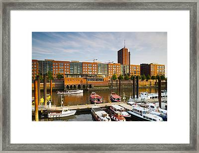 Boats Docked At A Harbor, Hafencity Framed Print by Panoramic Images