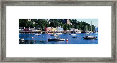 Boats Docked At A Harbor, Tobermory Framed Print by Panoramic Images