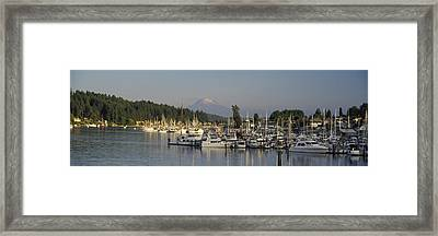 Boats Docked At A Harbor With Mountain Framed Print by Panoramic Images