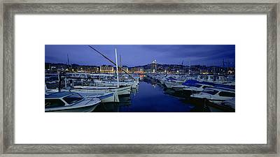 Boats Docked At A Port, Old Port Framed Print