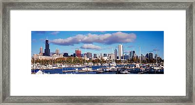 Boats Docked At Burnham Harbor Framed Print