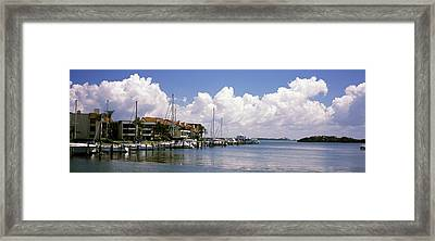 Boats Docked In A Bay, Cabbage Key Framed Print