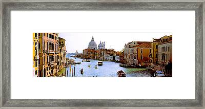 Boats In A Canal With A Church Framed Print by Panoramic Images