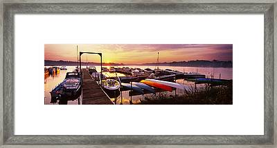 Boats In A Lake At Sunset, Lake Framed Print