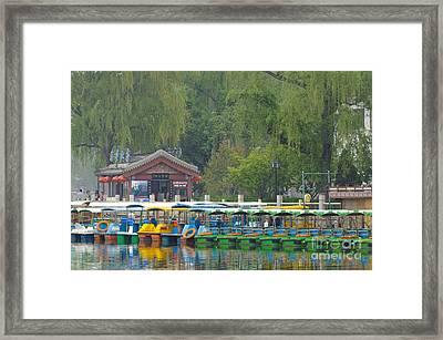 Boats In A Park, Beijing Framed Print by John Shaw