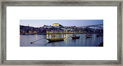 Boats In A River, Douro River, Porto Framed Print by Panoramic Images