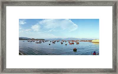 Boats In A River, Vinh Long, Nha Framed Print