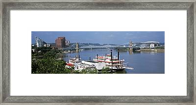 Boats In A River With A Suspension Framed Print