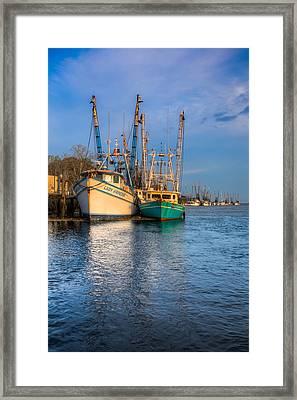Boats In Blue Framed Print