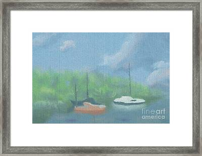 Boats In Cove Framed Print by Arlene Babad