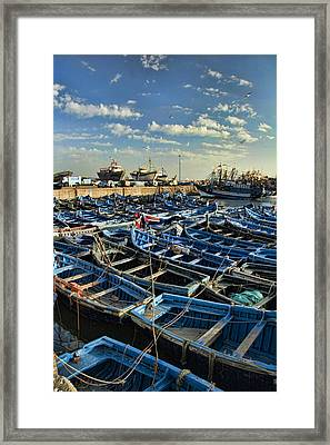 Boats In Essaouira Morocco Harbor Framed Print