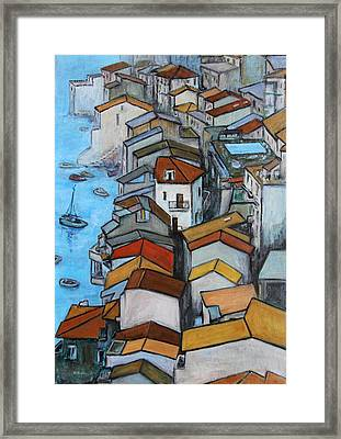 Boats In Front Of The Buildings Iv Framed Print