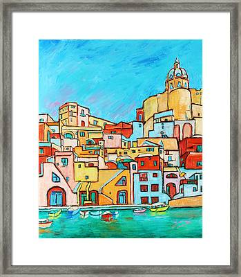 Boats In Front Of The Buildings Vii Framed Print by Xueling Zou