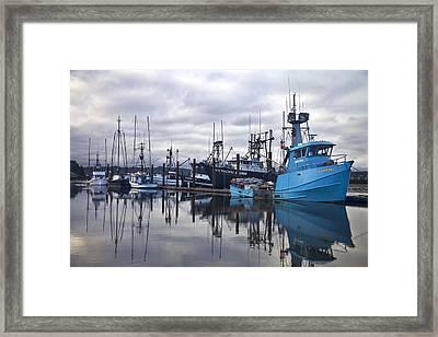 Boats In Harbor Newport Oregon Framed Print by Carol Leigh