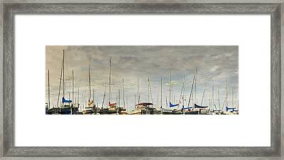 Framed Print featuring the photograph Boats In Harbor Reflection by Peter v Quenter