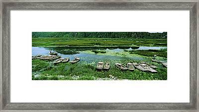 Boats In Hoang Long River, Kenh Ga Framed Print by Panoramic Images