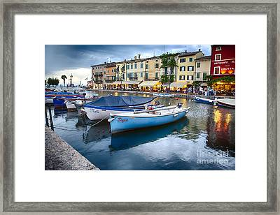 Boats In Lazise Harbor After Sunset Framed Print