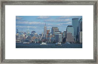 Boats In New York City Framed Print by Dan Sproul