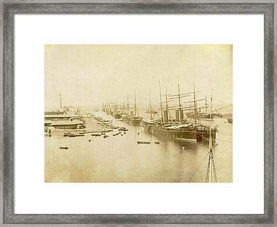Boats In Port Said Cruise Dragon, Egypt Framed Print