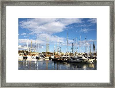 Boats In Port Vell Framed Print by Fabrizio Troiani