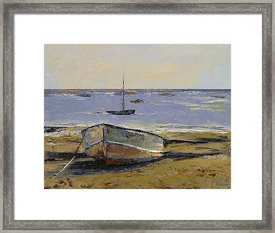 Boats In Provincetown Harbor Framed Print by Michael Creese