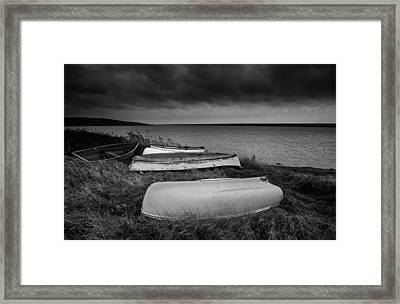 Boats In Storm Framed Print by Matthew Gibson