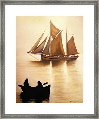 Boats In Sun Light Framed Print