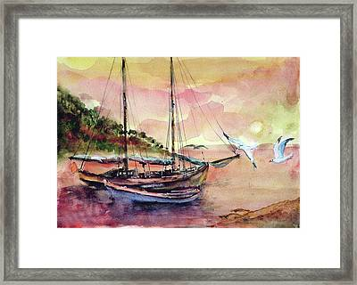 Framed Print featuring the painting Boats In Sunset  by Faruk Koksal