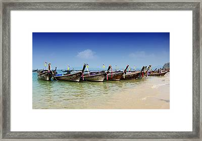 Framed Print featuring the photograph Boats In Thailand by Zoe Ferrie