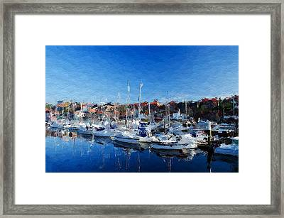 Boats In The Harbor Framed Print