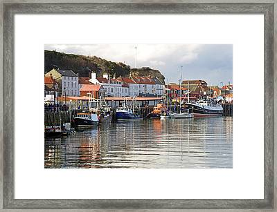 Boats In The Lower Harbour - Whitby Framed Print