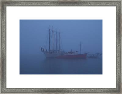 Boats In The Mist Framed Print