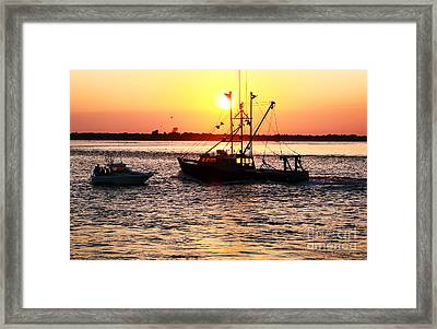 Boats In The Night Framed Print