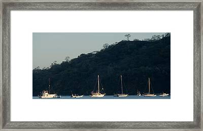 Boats In The Sea, Hermosa Beach, Costa Framed Print by Panoramic Images