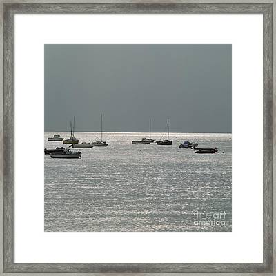 Boats In The Sea. Normandy. France. Europe Framed Print by Bernard Jaubert
