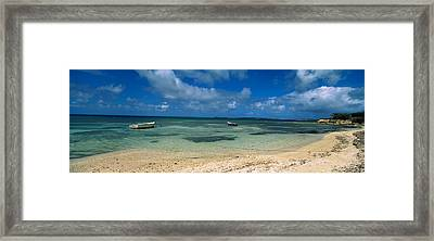 Boats In The Sea, North Coast Framed Print by Panoramic Images