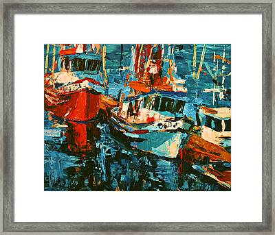 Boats In Turquoise Framed Print by Brian Simons