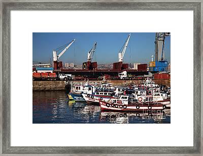Boats In Valparaiso Framed Print by John Rizzuto