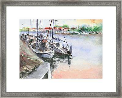 Framed Print featuring the painting Boats Inshore by Faruk Koksal
