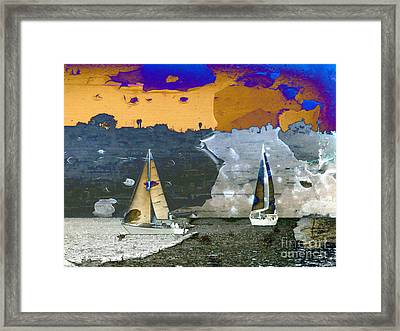 Framed Print featuring the digital art Boats by Irina Hays