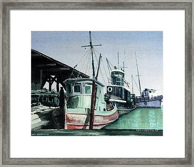 Framed Print featuring the painting Boats by Joey Agbayani