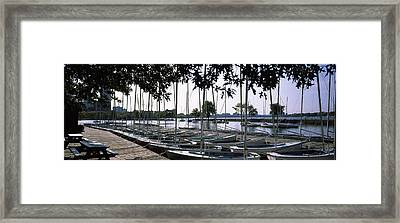 Boats Moored At A Dock, Charles River Framed Print