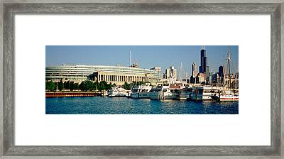 Boats Moored At A Dock, Chicago Framed Print