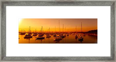 Boats Moored At A Harbor At Dusk Framed Print by Panoramic Images