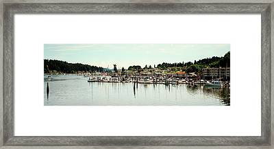 Boats Moored At A Harbor, Gig Harbor Framed Print by Panoramic Images