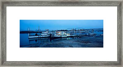 Boats Moored At A Harbor, Memphis Framed Print by Panoramic Images