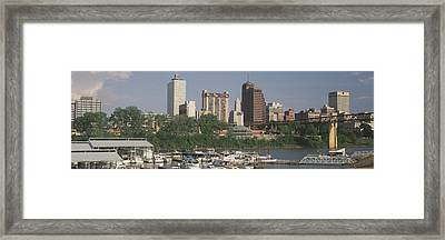 Boats Moored At A Harbor, Mud Island Framed Print by Panoramic Images
