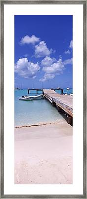 Boats Moored At A Pier, Sandy Ground Framed Print