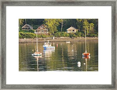 Boats Moored In Tenants Harbor Maine Framed Print